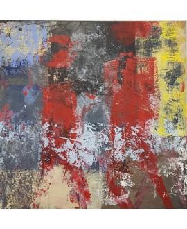 Tableau moderne, peinture contemporaine abstraite, acrylique sur toile 100x100cm intitulée père et enfant.