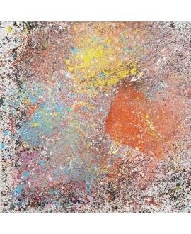 Peinture contemporaine, tableau moderne abstrait, acrylique sur toile 100x100cm intitulée fenêtre rouge et jaune.
