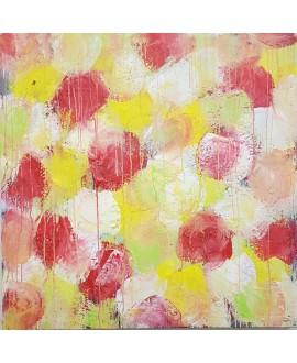 Tableau contemporain, peinture moderne figurative, acrylique sur toile 100x100cm intitulée: fleurs rouges et jaunes.