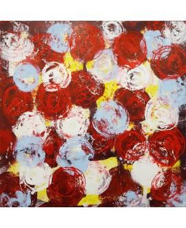 Peinture contemporaine, tableau moderne figuratif, acrylique sur toile 100x100cm intitulée: fleurs rouges bleues et blanches.