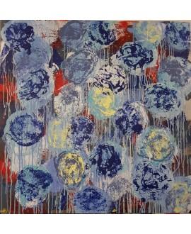 Peinture contemporaine, tableau moderne figuratif, acrylique sur toile 100x100cm intitulée: fleurs bleues et jaunes.