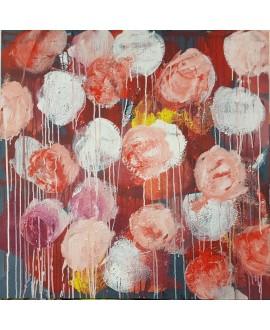 Peinture moderne, tableau contemporain figuratif, acrylique sur toile 100x100cm intitulée: fleurs rouges et roses.