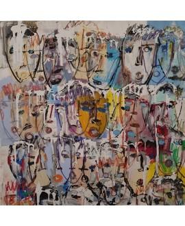Tableau contemporain, peinture moderne figurative, acrylique sur toile 100x100cm intitulée: multitetes colorées 6.