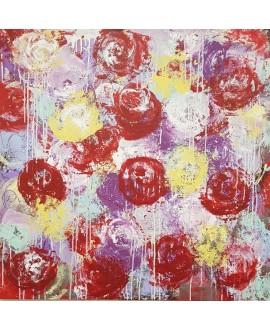 Tableau moderne, peinture contemporaine figurative, acrylique sur toile 100x100cm intitulée: fleurs rouges violettes et jaunes.