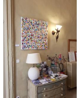 Peinture contemporaine, tableau moderne figuratif, acrylique sur toile 80x80cm intitulée: petite friture colorée 1.