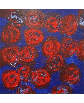 Peinture contemporaine, tableau moderne figuratif, acrylique sur toile 100x100cm intitulée: grosses fleurs rouges.