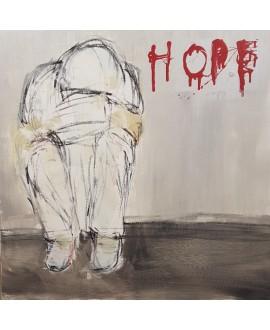 Peinture contemporaine, tableau moderne figuratif, acrylique sur toile 80x80cm intitulée: HOPE.