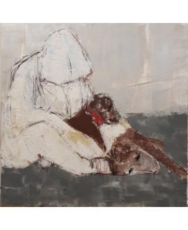 Peinture contemporaine acrylique sur toile 100x100cm intitulée: Hommes aux chiens.