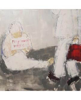 Tableau moderne, peinture contemporaine figurative, acrylique sur toile 100x100cm intitulée: Le sac rouge.