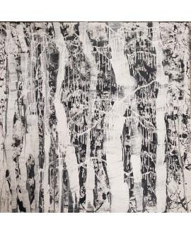 Peinture contemporaine, tableau moderne abstrait, acrylique sur toile 100x100cm intitulée: Arbres.