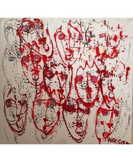 Peinture contemporaine, tableau moderne figuratif, acrylique sur toile 100x100cm intitulée: Foule rouge.