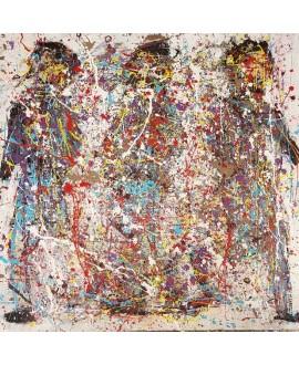 Peinture contemporaine acrylique sur toile 100x100cm intitulée: 3 hommes qui marchent.