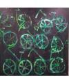 Peinture moderne, tableau contemporain figuratif, acrylique sur toile 100x100cm intitulée: vélos verts.