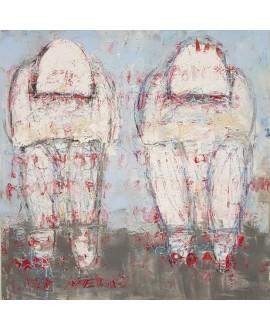Peinture moderne, tableau contemporain figuratif, acrylique sur toile 100x100cm intitulée: Hommes assis.