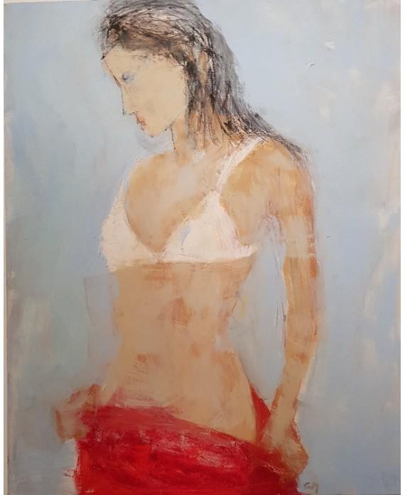 Tableau moderne, peinture contemporaine figurative de nu , acrylique sur toile 100x73cm intitulée: femme au dessous blanc.