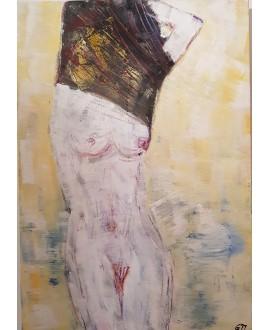 Peinture contemporaine, tableau moderne figuratif de nu , acrylique sur toile 116x89cm intitulée: femme se deshabillant.