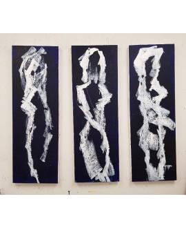 Peinture contemporaine, tableau moderne de nu , acrylique sur toile: femmes en blanc  3 fois 40x120cm.