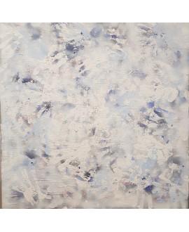 Tableau contemporain, peinture moderne abstraite, acrylique sur toile 100x100cm intitulée: traces.