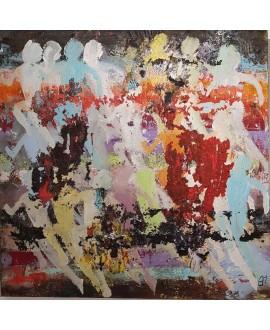 Tableau moderne, peinture contemporaine figurative, acrylique sur toile 100x100cm intitulée: enfants qui courent 1.