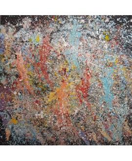 Peinture contemporaine, tableau moderne figuratif, acrylique sur toile 100x100cm intitulée: enfants qui courent 2.