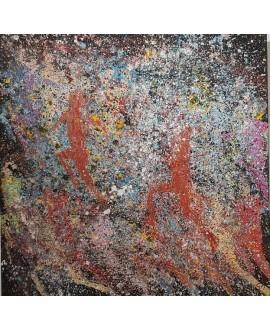 Peinture contemporaine, tableau moderne figuratif, acrylique sur toile 100x100cm intitulée: enfants qui courent 3.