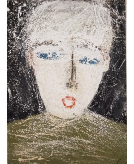 Peinture contemporaine, portrait, tableau moderne figuratif, acrylique sur toile 100x73cm intitulée: enfant au pull vert.