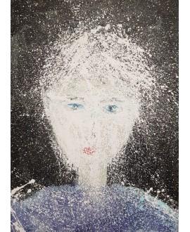 Tableau moderne, portrait, peinture contemporaine figurative, acrylique sur toile 100x73cm intitulée: femme aux yeux bleus.