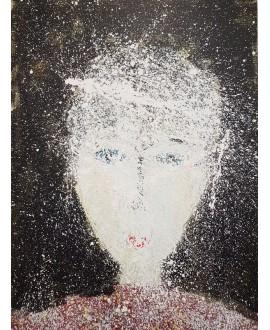 Peinture contemporaine, portrait, tableau moderne figuratif, acrylique sur toile 100x73cm intitulée: homme aux yeux bleus.