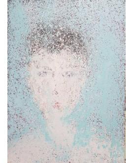 Peinture contemporaine, portrait, tableau moderne figuratif, acrylique sur toile 100x73cm représentant une tête au soleil.