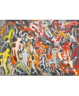 Peinture moderne, tableau contemporain figuratif, acrylique sur toile 92x65cm représentant des enfants.