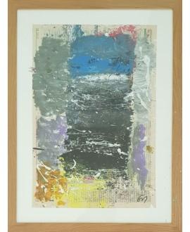 Peinture contemporaine, tableau moderne abstrait, acrylique sur papier sous verre 70x53cm intitulée: fenêtre sur azur.