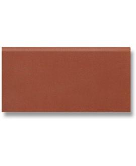 Plinthe en terre cuite rouge mécanique à bord rond rectangulaire 7.5x15cm, épaisseur 9mm