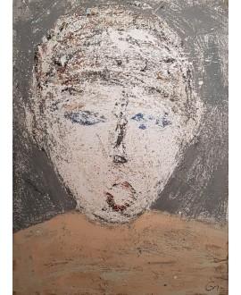 Peinture contemporaine, portrait, tableau moderne figuratif, acrylique sur toile 100x73cm intitulée: portrait au pull beige
