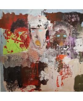 Peinture contemporaine, tableau moderne figuratif, acrylique sur toile 100x100cm intitulée: 3 tetes.