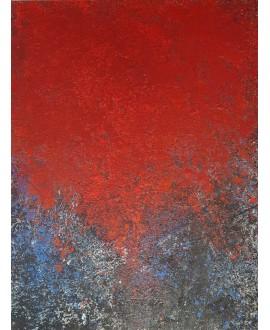 Peinture contemporaine, tableau moderne abstrait, acrylique sur toile 116x89cm intitulée ciel rouge.