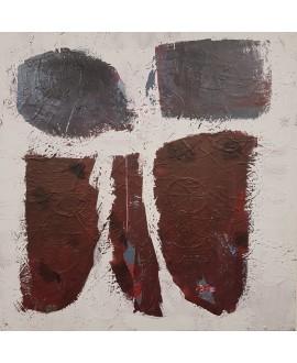Peinture contemporaine, tableau moderne abstrait, acrylique sur toile 100x100cm intitulée: famille.