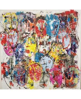 Tableau moderne, peinture contemporaine figurative, acrylique sur toile 100x100cm intitulée: foule2.