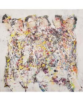 Peinture contemporaine, tableau moderne abstrait, acrylique sur toile 100x100cm intitulée: jogging2.