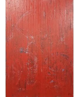 Peinture moderne, tableau contemporain figuratif, acrylique sur toile 116X89cm intitulée: vélo rose.