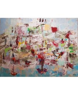 Peinture contemporaine, tableau moderne figuratif, paysage, acrylique et collage sur toile 116X89cm intitulée: ile de Madère.