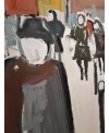 Peinture contemporaine, tableau moderne figuratif, acrylique et collage sur toile 116X89cm intitulée: boulevard du Montparnasse.