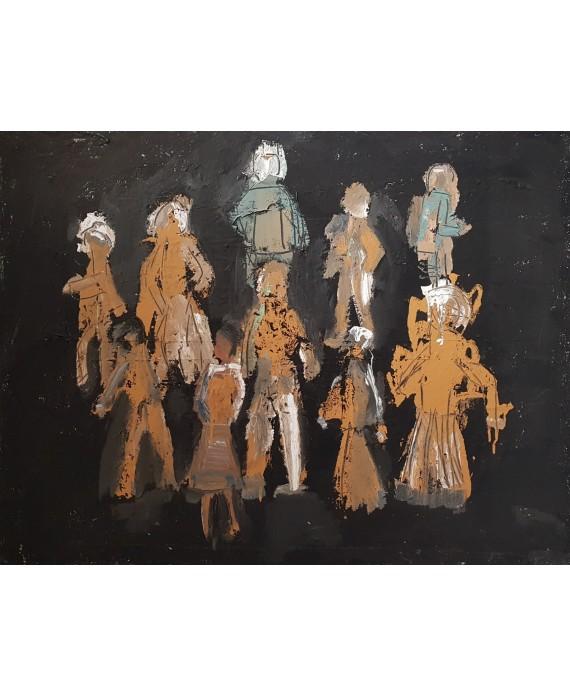 Peinture contemporaine, tableau moderne figuratif, acrylique et collage sur toile 116X89cm intitulée: scène de rue la nuit.