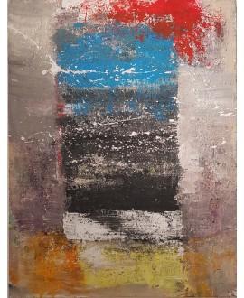 Peinture contemporaine, tableau moderne abstrait, acrylique sur toile 116x89cm intitulée fenêtre sur azur2.