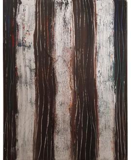 Tableau contemporain, peinture moderne abstraite, acrylique sur toile 116x89cm intitulée troncs.