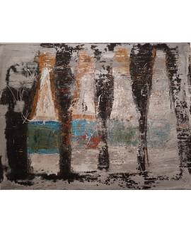 Peinture contemporaine, tableau moderne abstrait, acrylique sur toile 116x89cm intitulée bouteilles.