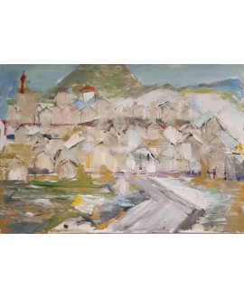 Peinture contemporaine, tableau moderne figuratif, paysage, acrylique sur toile 100x73cm intitulée: paysage vert.
