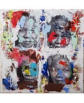 Peinture contemporaine, tableau moderne figuratif, pop art, acrylique et collage sur toile 100x100cm intitulée: Mandela