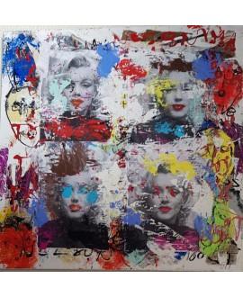 Peinture contemporaine, tableau moderne figuratif, pop art, acrylique et collage sur toile 100x100cm intitulée: Marilyn
