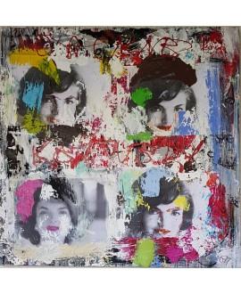 Peinture contemporaine, tableau moderne figuratif, pop art, acrylique et collage sur toile 100x100cm intitulée: jackie Kennedy