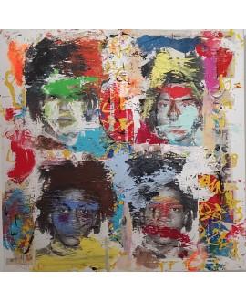 Peinture contemporaine, tableau moderne figuratif, pop art, acrylique et collage sur toile 100x100cm intitulée: Basquiat